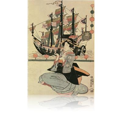 国貞 ギヤマン船・舶来鳥・切子燈寵