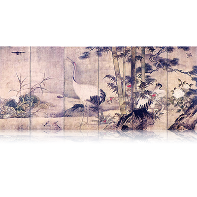 花鳥図屏風 かちょうずびょうぶ Flowers and birds figure screen. 雪舟 Sesshu