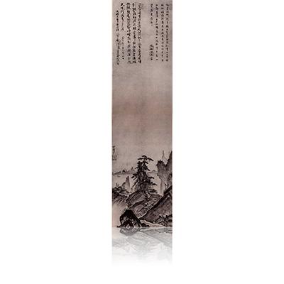 山水図 牧松周省・了菴桂悟賛 さんすいず ぼくしょうしゅうしょう・りょうあんけいごさん Landscape view of the Word of Bokusyosyusyo and Ryoankeigo has entered. 雪舟 Sesshu
