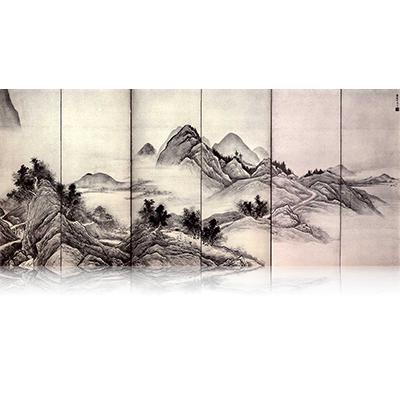 山水図屏風 さんすいずびょうぶ Sansui figure screen. 雪舟 Sesshu