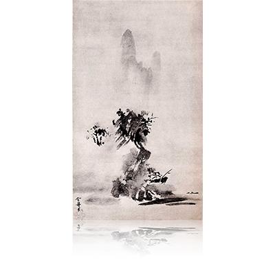 山水図 自賛・月翁周鏡等賛 さんすいず じさん・げっとうしゅうきょうとうさん Landscape view of the Word of myseif and Gettosyukyo has entered. 雪舟 Sesshu