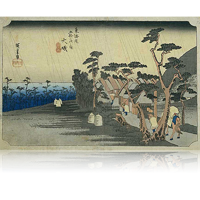 東海道五拾三次之内8番目 大磯宿 おおいそ Tokaido53_08_Oiso 画題:「虎ヶ雨」 wpfto5308