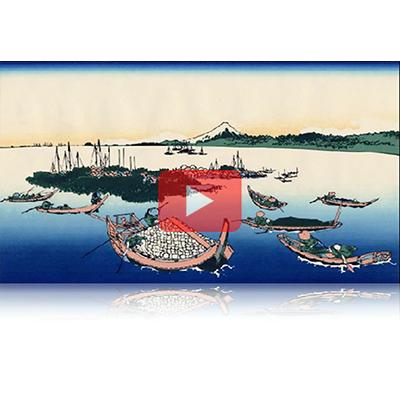 遠近風景画 富嶽三十六景 其の十六 武陽佃嶌 Buyou Tsukudashima Thirty-six Views of Mount Fuji 3D