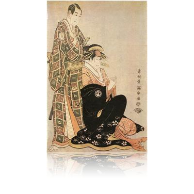 三代沢村宗十郎の名護屋山三と三代瀬川菊之丞の傾城かつらぎ 写楽