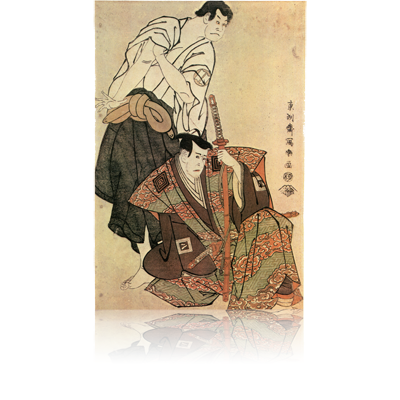 三代市川八百蔵の不破の伴左衛門と三代坂田半五郎の子育て観音坊 写楽